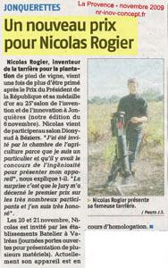 Un nouveau prix pour Nicolas ROGIER