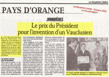 Le prix du Président pour l'invention de Nicolas ROGIER